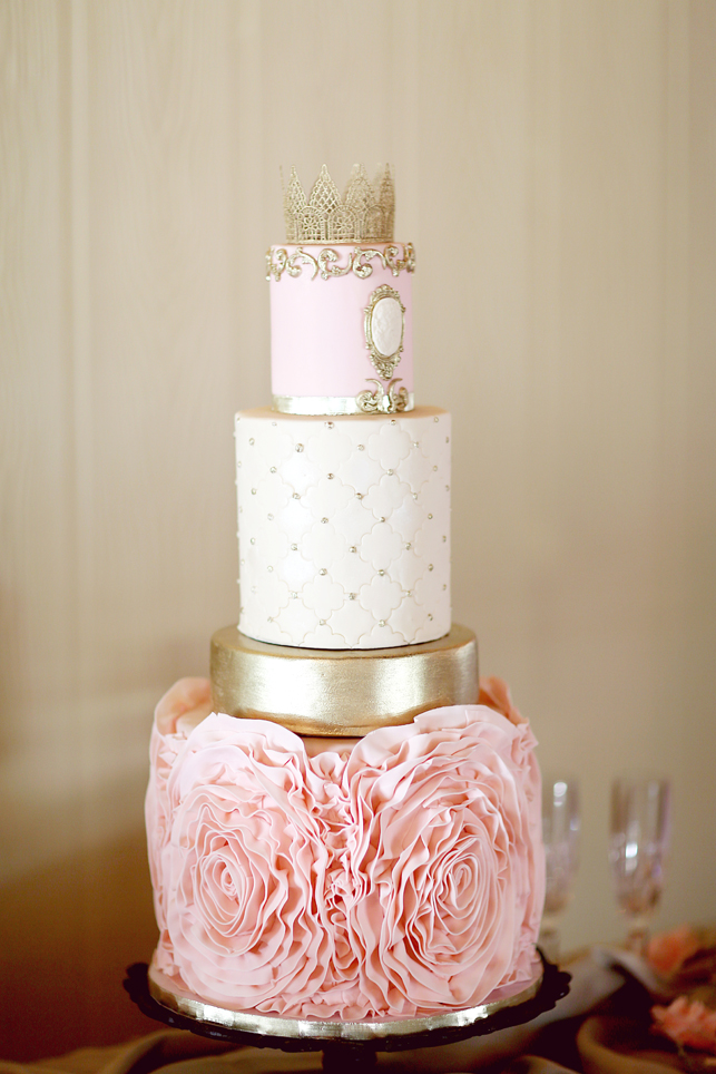 Gold and Pink Wedding cake, princess cake, fondant rosettes, gold fondant, fondant cameo, gold and pink
