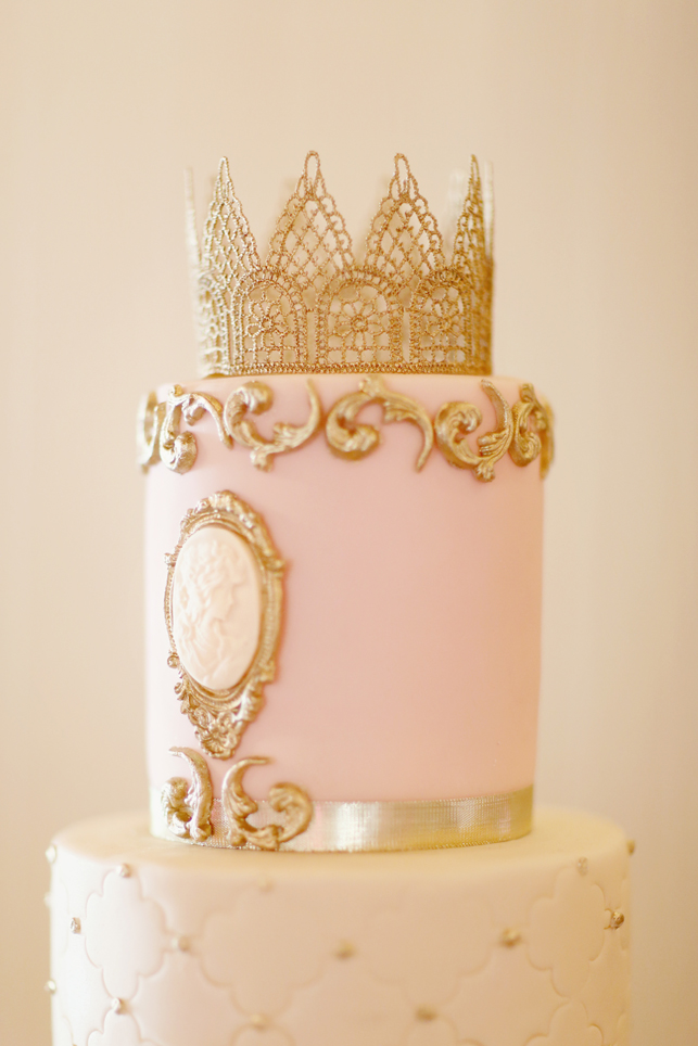 Gold and Pink Wedding cake, princess cake, fondant rosettes, gold fondant, fondant cameo, gold and pink
