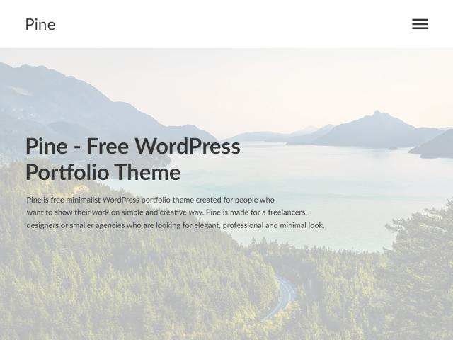 Pine, a free minimalist WordPress portfolio theme
