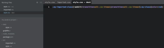 """Processed style.css in the """"dest"""" folder"""