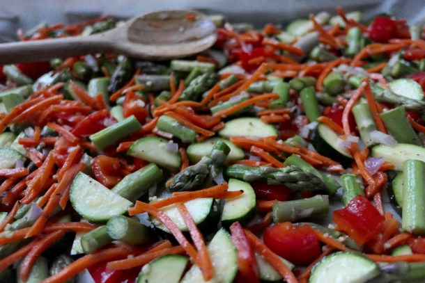 Roasted Vegetables with Lemon Dressing - Slice of Honey Blog