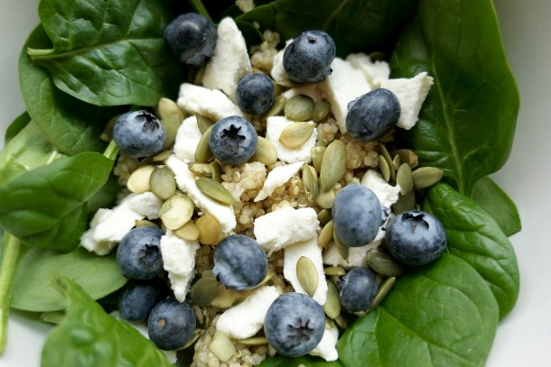Blueberry and Pesto Quinoa Bowl - Slice of Honey Blog