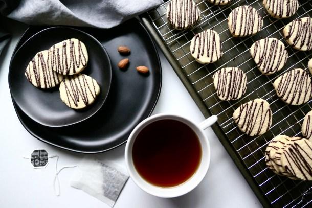 Vegan Shortbread Cookies With Dark Chocolate Drizzle - Slice Of Honey Blog