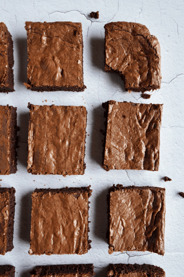 Brownies on a white background.