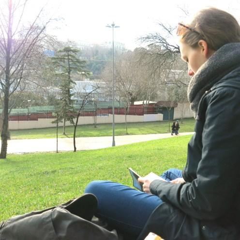 Me reading in Maçka Demokrası Parkı