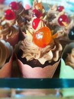 Chokolade Cupcake med Nougat Frosting. Muffins med nougat creme.