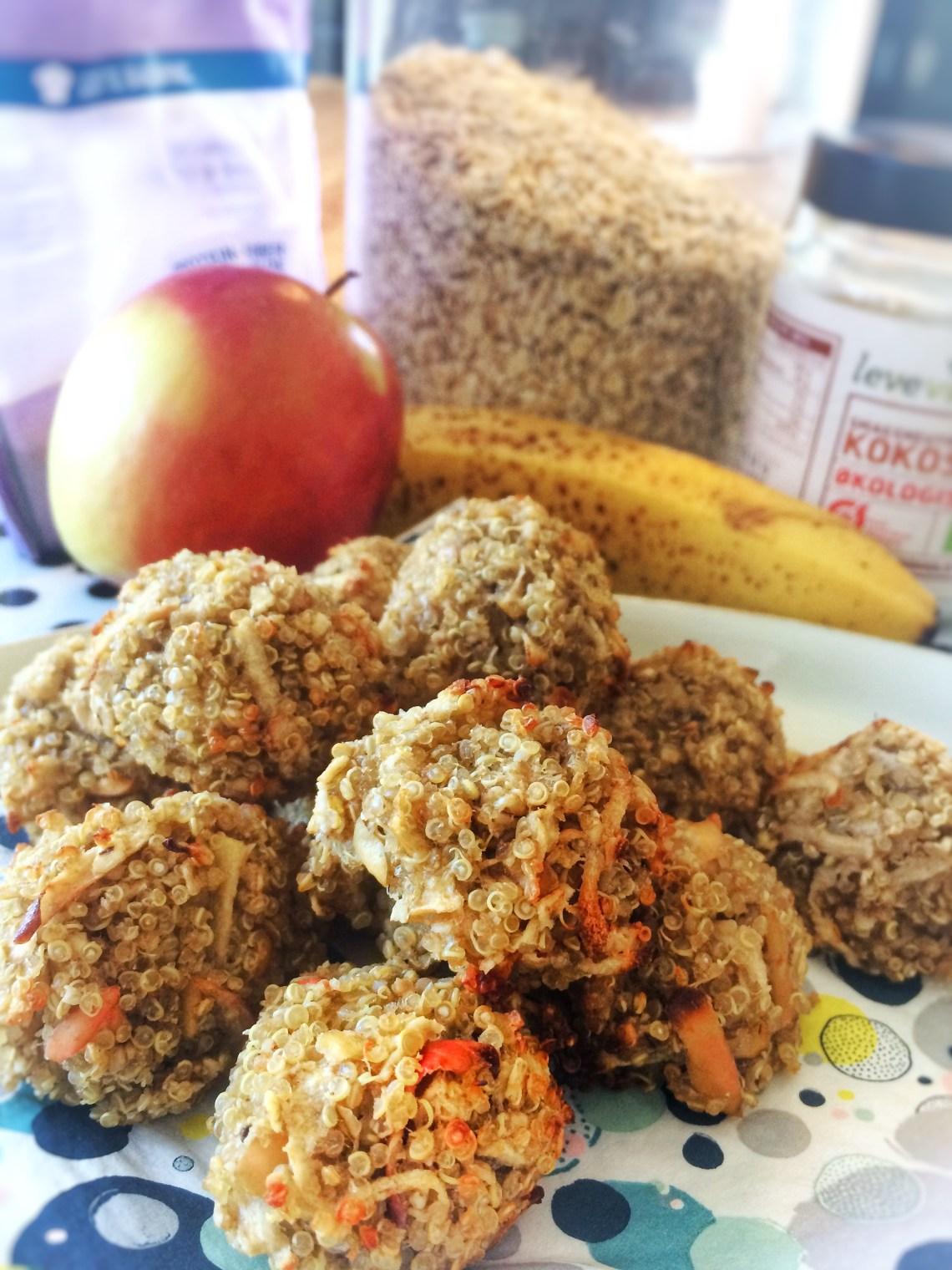 Quinoa Hapsere til baby / BLW /Baby Led Weaning / Quinoa, havregryn, banan, æble og kokosolie / sund / glutenfri