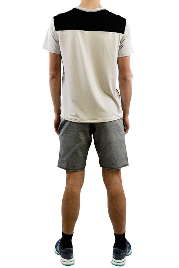 T-shirt ACE Horizontal Cinzento Prata, Calção STATUS Riscas Pretos (1)