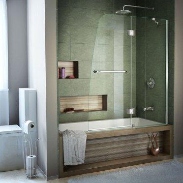 DreamLine Aqua 48 in. Width, Frameless Hinged Tub Door, Glass, Chrome Finish