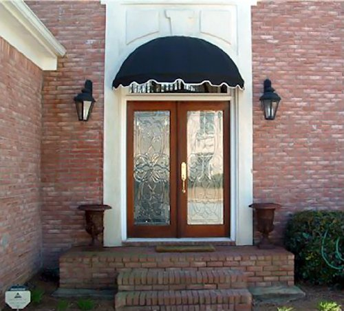 dome style window awning or door canopy 4u0027 wide in sunbrella awning fabric black
