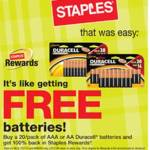 Staples: Free Duracell Batteries Plus Possible Free UPS Shipping