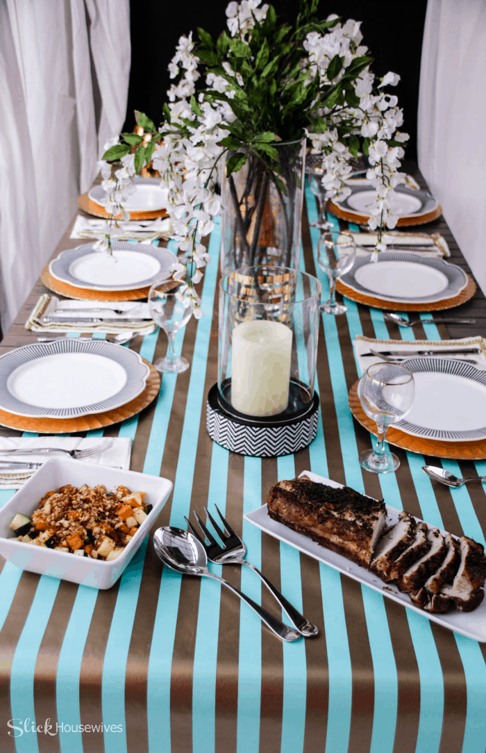 Black, Gold and Teal Christmas Tablescape-10
