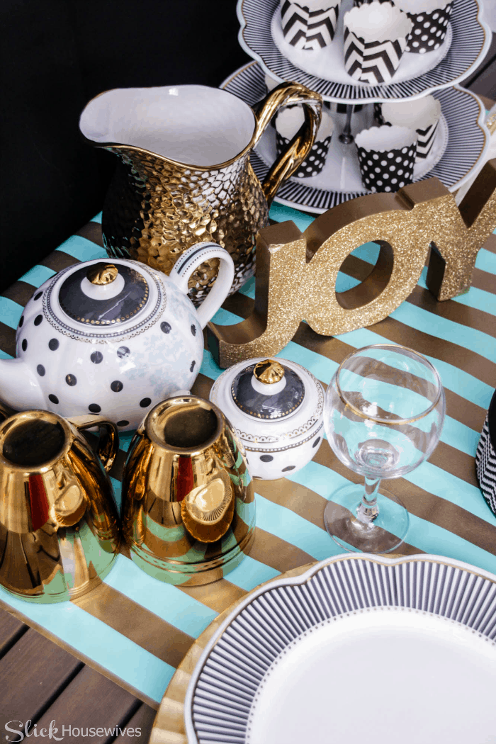 Black, Gold and Teal Christmas Tablescape-3