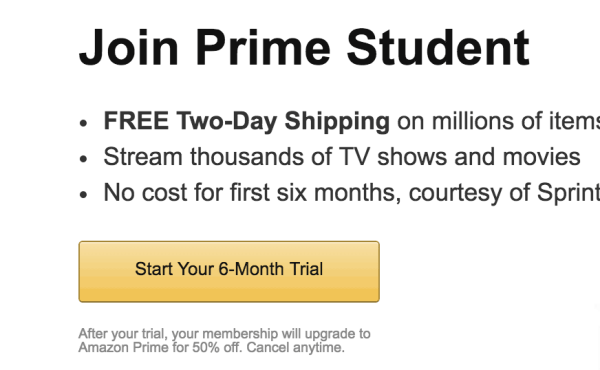 Amazon Prime Free for 6-months for College Students