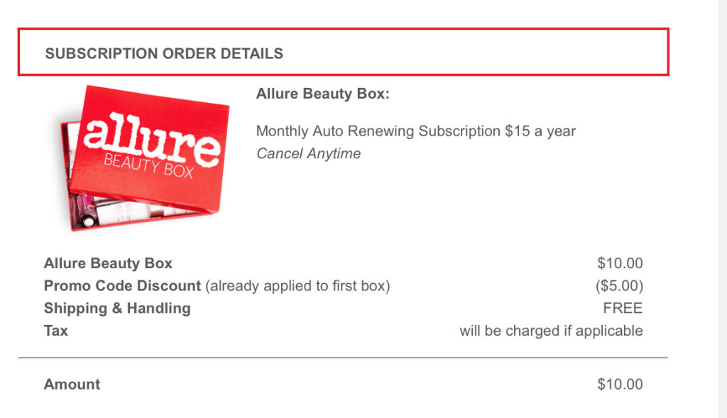 Allure Box Subscription