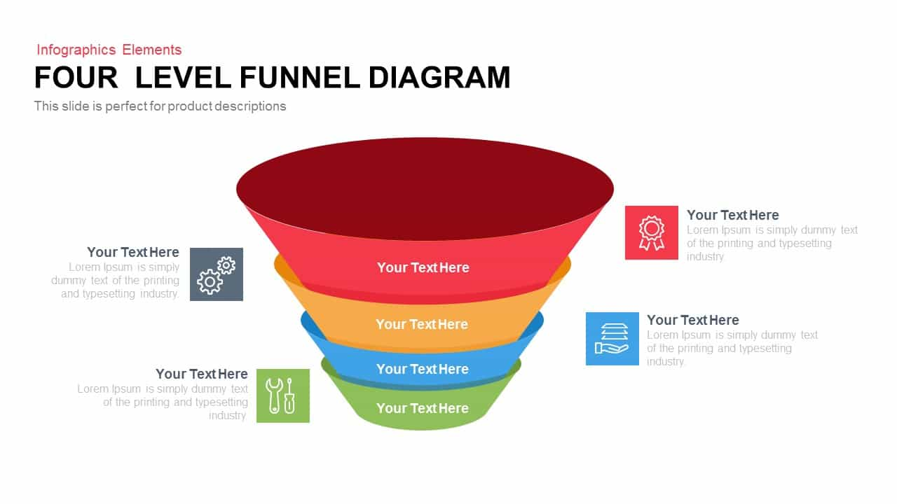 4 Level Funnel Diagram Powerpoint Template And Keynote