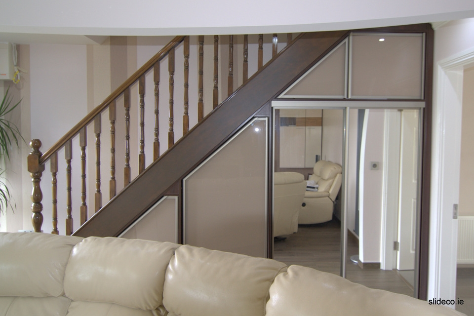 Under Stairs Glamour Design Sliding Wardrobes Slideco | Wardrobe Design Under Stairs | Hallway Storage | Basement Stairs | Stair Case | Living Room | Shoe