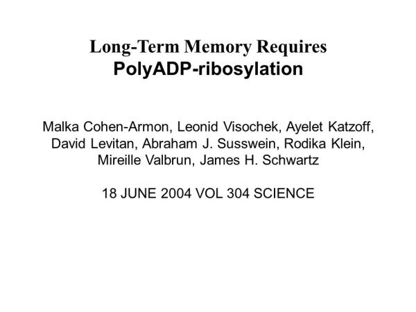 Long-Term Memory Requires - ppt carregar