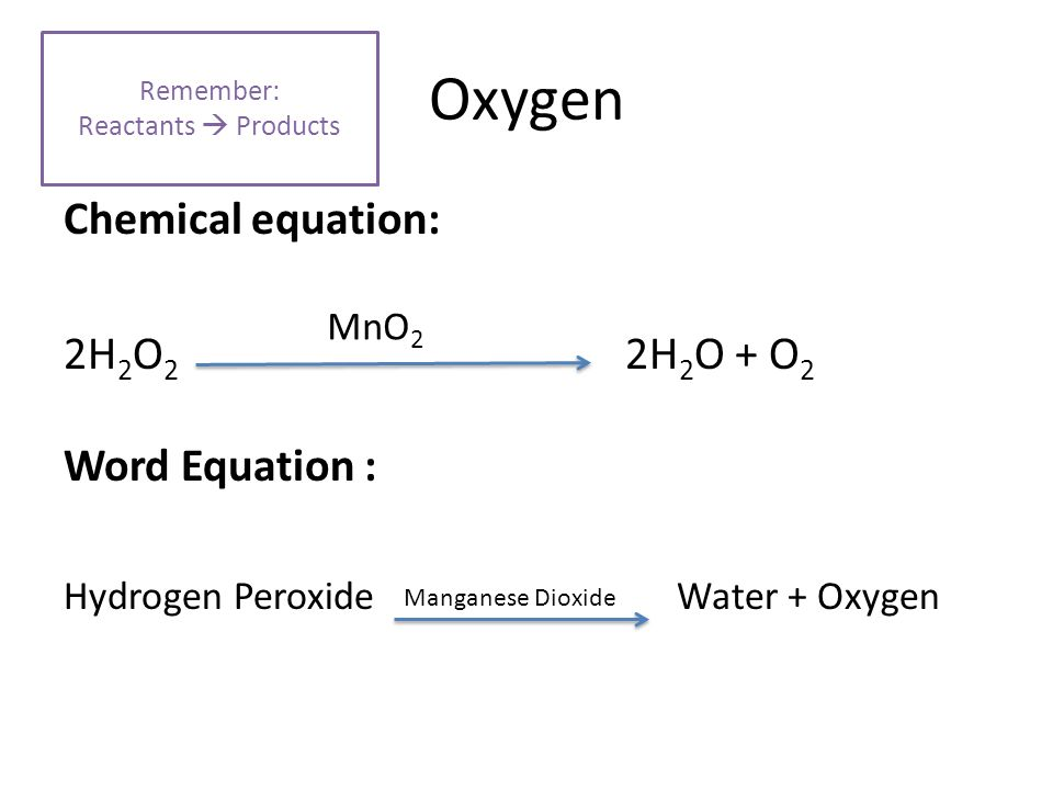 Chemical Hydrogen Peroxide Equation