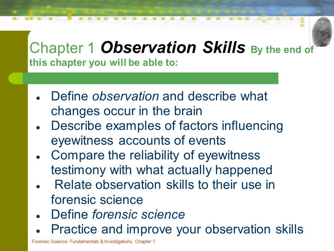 Chapter One Observation Skills