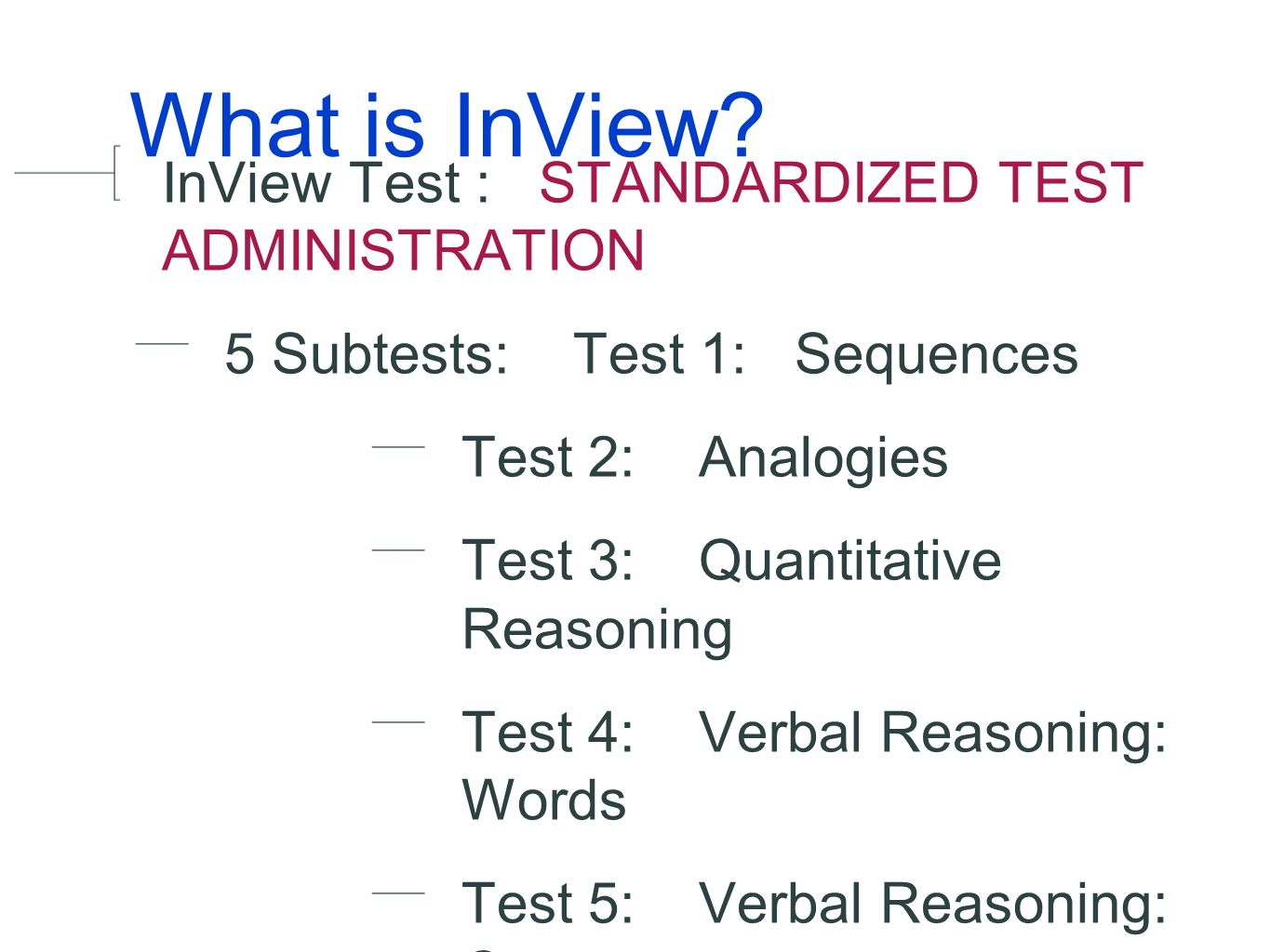Inview Test Test Administrator Training Anson Middle School
