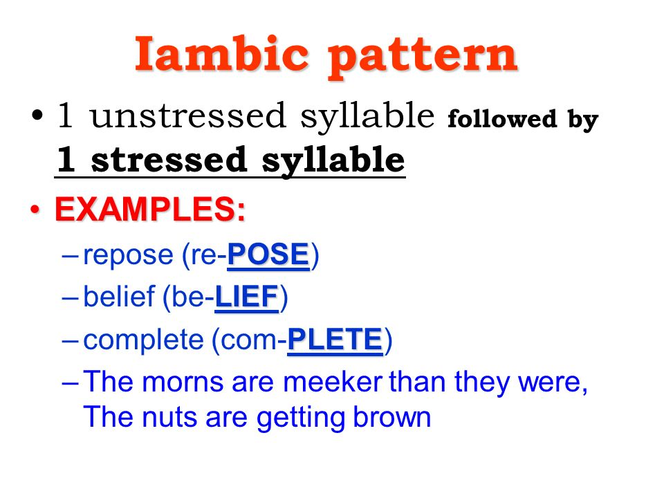 Examples Of Stressed Syllables