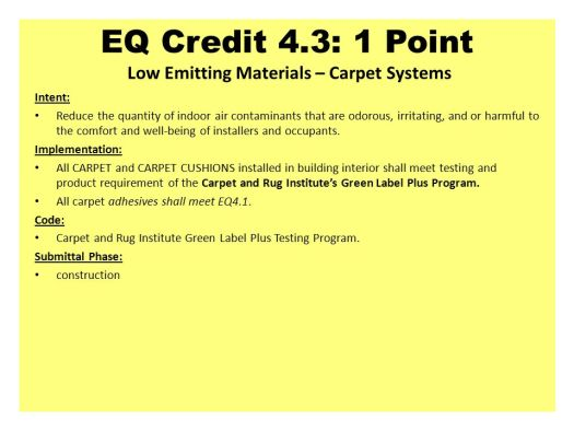Leed Nc Indoor Environmental Quality Intent Slide Editor James A. Carpet U0026 Rug Institute As Green Label Plus Amazing