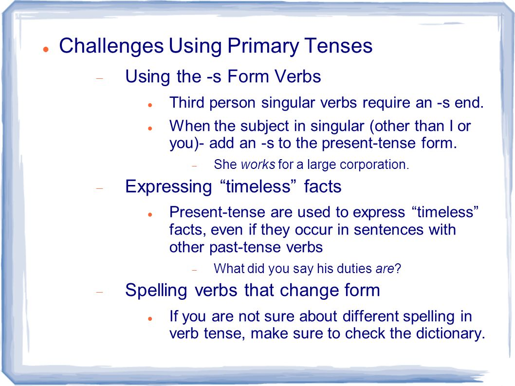 Chapter 9 Verb Tenses And Parts