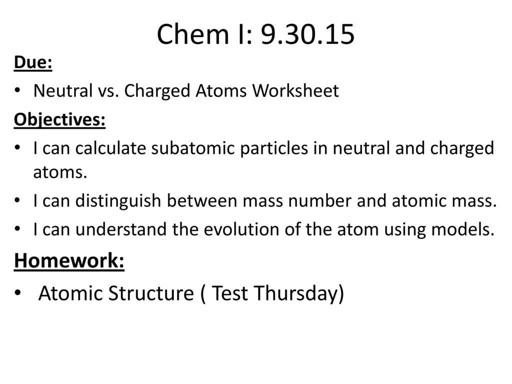 Chemi Block Objectives