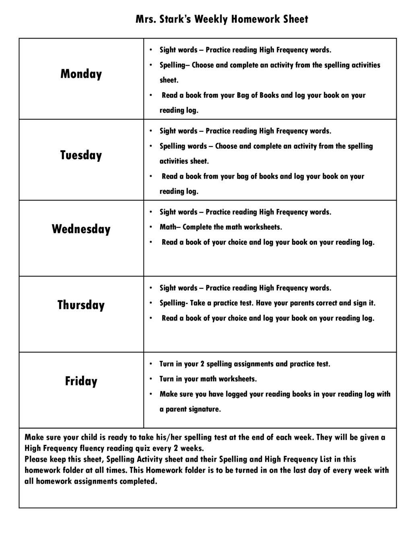 Mrs Stark S Weekly Homework Sheet