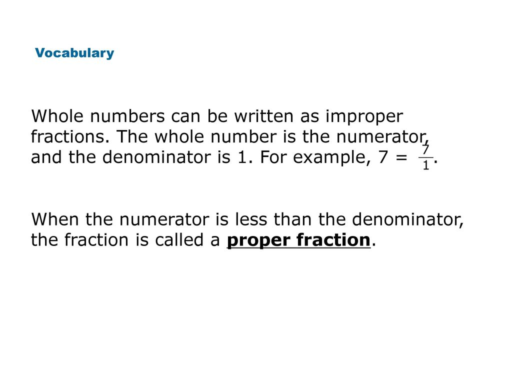 Mixed Numbers Improper Fractions Comparing And Ordering