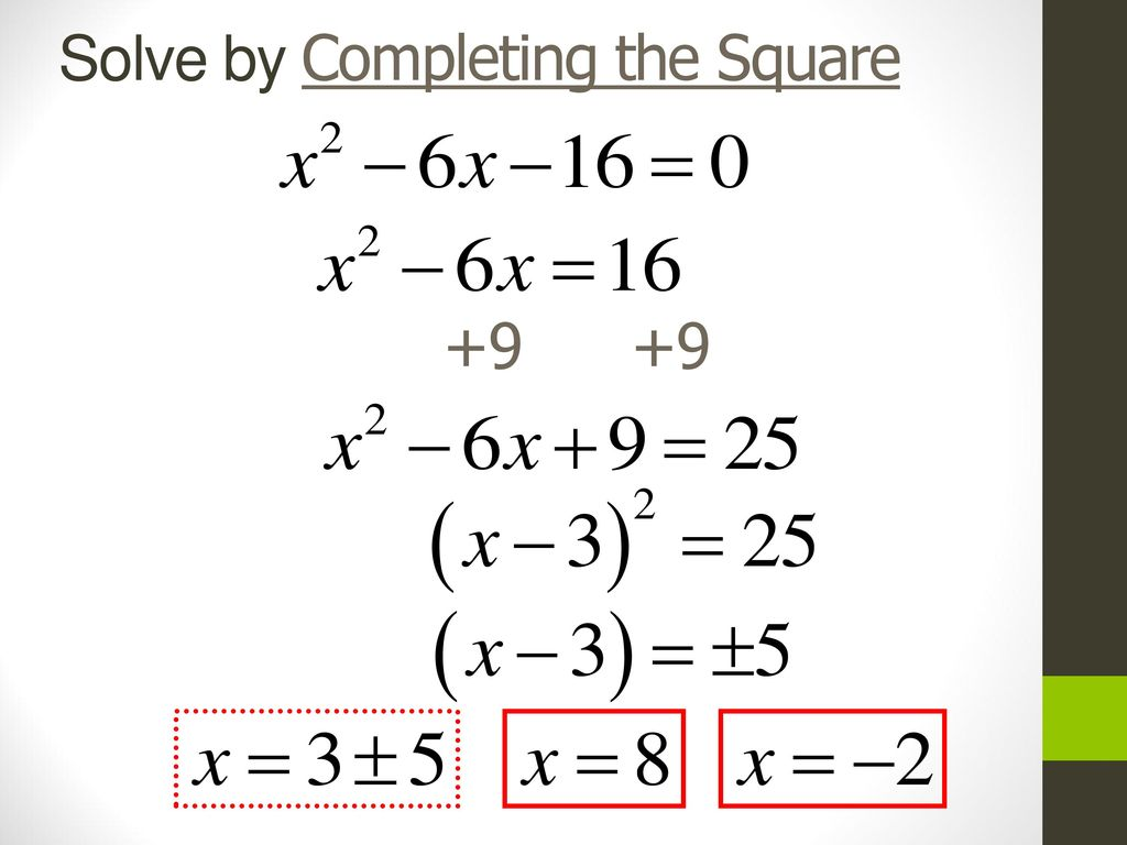 Solve Quadratic Functions By Completing The Square