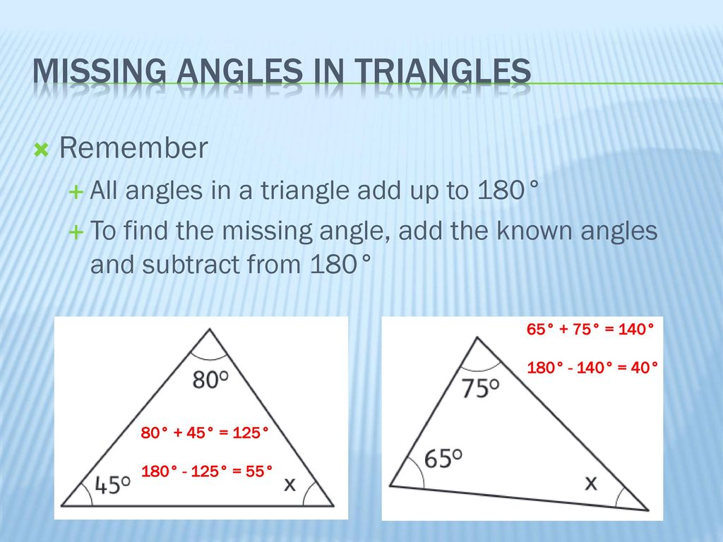 Walt Calculate Missing Angles