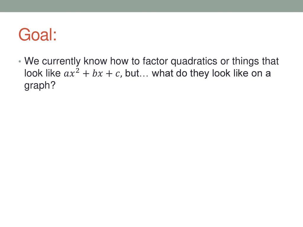 7 1 Graphing Quadratics Standard Form