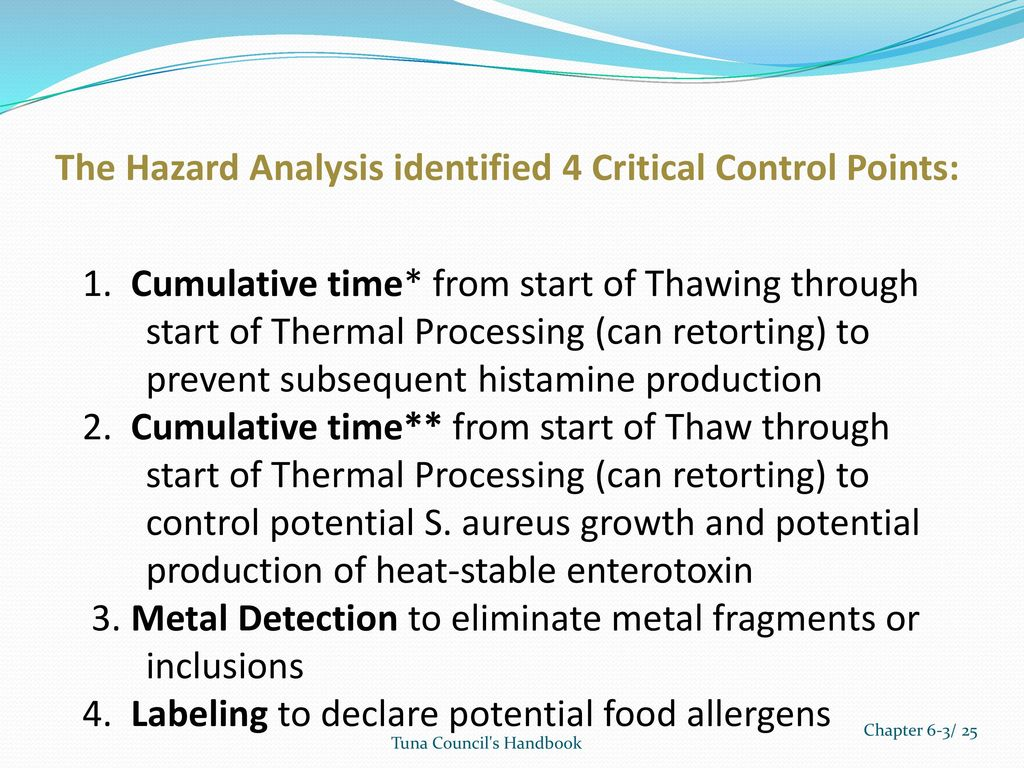 Tuna Haccp Guide Example 3 Canned Tuna From Frozen Pre Cooked Loins