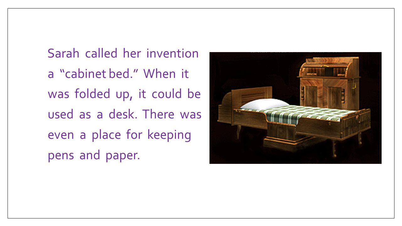 What Year Did Sarah E Goode Invented The Cabinet Bed | memsaheb.net