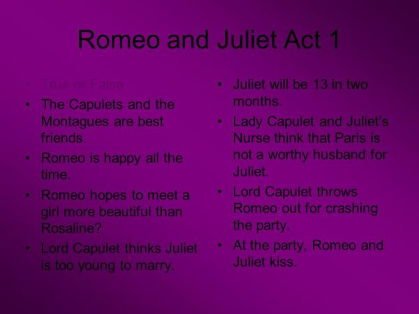 Romeo and Juliet Act 1 Describe the relationship between ...