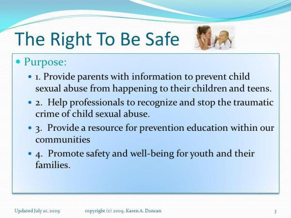 The Right To Be Safe Adult Education to Prevent Child ...