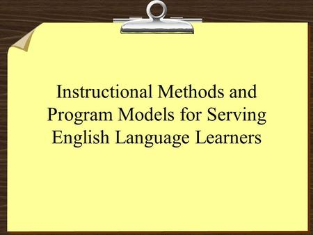 BY: HILLERY MONTEL Using the TESOL Standards. What are the ...