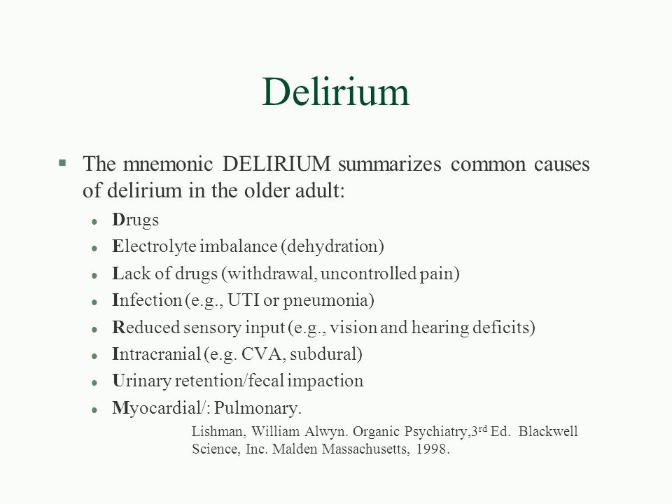 Image result for delirium mnemonic