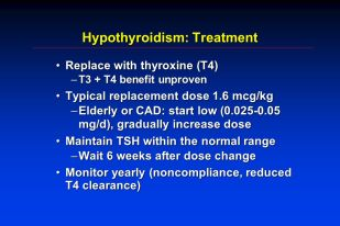 hypothyroidism treatment uptodate