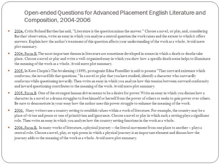 ap literature essay questions 2008 Ap english literature and composition 2008 freeresponse 2008 ap® english literature and composition freeresponse 2008 ap® english literature and composition freeresponse questions question 3 (suggested time40 minutes this question counts as onethird of the total essay section score.