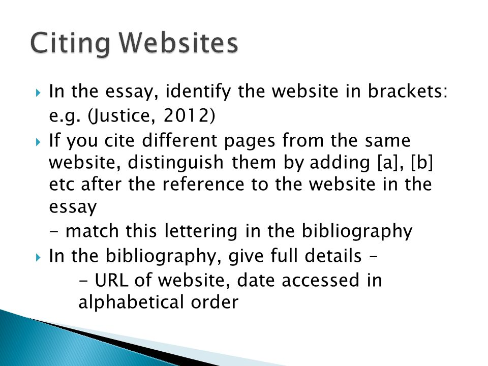 Citing a website in an essay