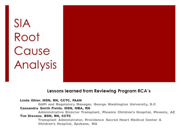 SIA Root Cause Analysis - ppt download