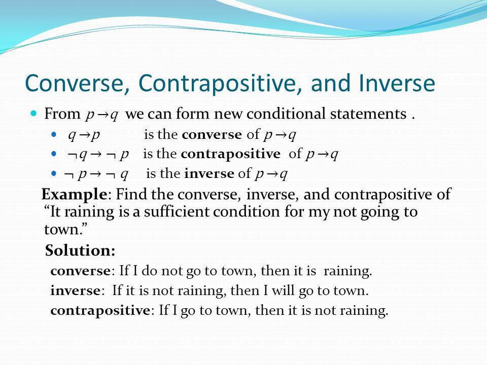 Converse Inverse Contrapositive Truth Table