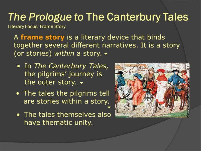 a character analysis of geoffrey chaucers frame story canterbury tales Geoffrey chaucer the canterbury tales in geoffrey chaucer wrote the canterbury tales, a collection of stories in a frame story, between and it is the story of a group of thirty people who travel as pilgrims to canterbury england.