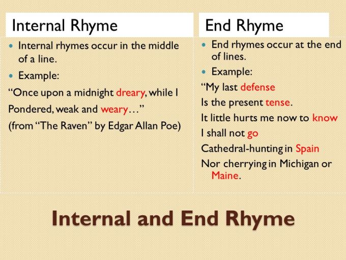 Example Of Poem With End Rhyme And Internal Textpoems