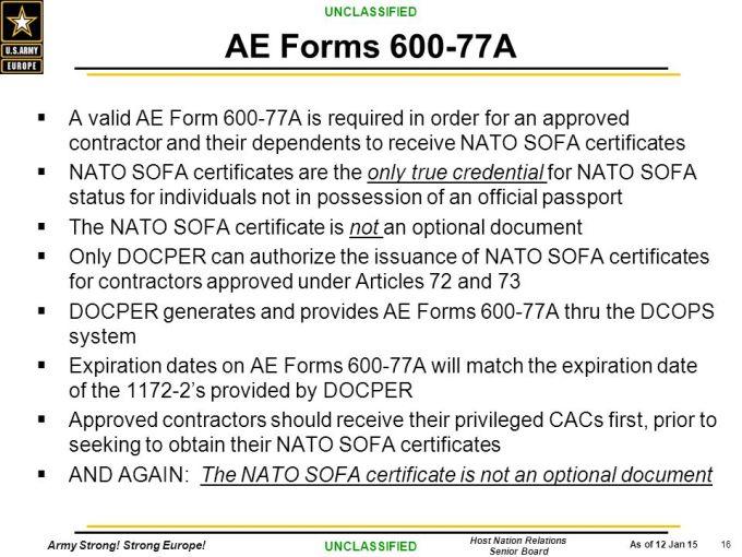 Nato Sofa Countries Thecreativescientistcom : AEForms600 77AAvalidAEForm600 77AisrequiredinorderforanapprovedcontractorandtheirdependentstoreceiveNATOSOFAcertificates from thecreativescientist.com size 680 x 510 jpeg 76kB