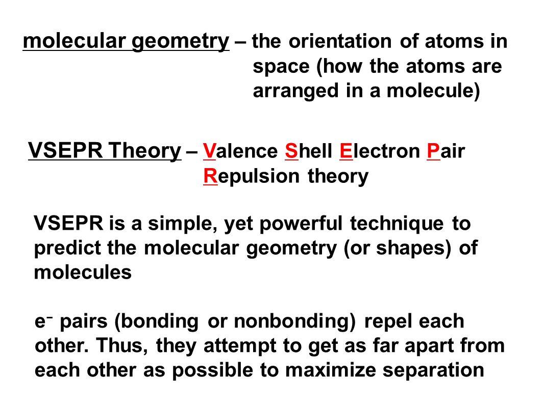 Vsepr Theory Valence Shell Electron Pair Repulsion Theory