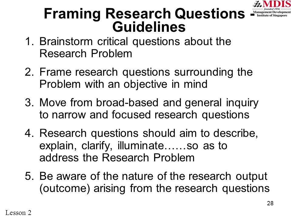 framing research questions | Allframes5.org